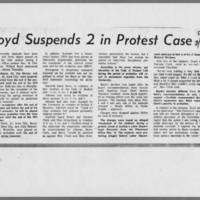 """1970-03-27 Daily Iowan Article: """"""""Boyd Suspends 2 in Protest Case"""""""""""