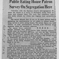 "1954-05-18 Burlington Hawkeye Gazette Article: ""Public Eating House Patron Survey On Segregation Here"""