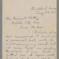1917-08-22 Millie B. Andrews to Mrs Francis N. Whitley Page 1