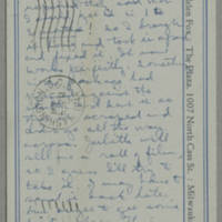 1944-01-10 Helen Fox to Bess Peebles Fox Postcard