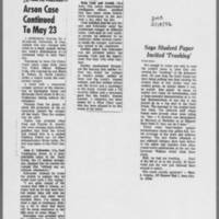 """1972-05-16 Iowa City Press-Citizen Article: """"""""Arson Case Continued to May 23"""""""" 1972-05-18 Des Moines Register Article: """"""""Says Student Paper Incited 'Trashing'"""""""""""