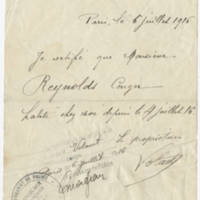1916-07-06 French certificate to Conger Reynolds