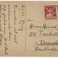 1921-01-31 Postcard: Robert M. Browning to Mr. Heinrich Georges - Back