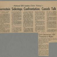1972-02-26 Iowa City Press-Citizen Article: 'Herrstein Sidesteps Confrontation, Cancels Talk' Page 1