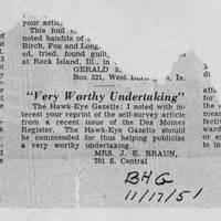 "1951-11-17 Burlington Hawkeye Gazette Letter: ""Very Worthy Undertaking"""
