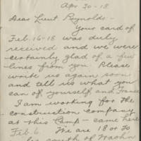 1918-04-30 W.L. Ketcham to Conger Reynolds Page 1