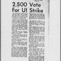 """1970-05-12 Daily Iowan Article: """"""""2,500 Vote For UI Strike"""""""""""