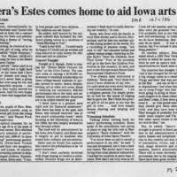 """1986-10-11 """"""""Opera's Estes comes home to aid Iowa arts"""""""" Page 1"""