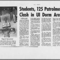 "1971-05-12 Iowa City Press-Citizen Article: """"Students, 125 Patrolmen Clash in UI Dorm Area"""" Page 1"