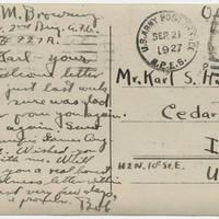 1927-09-21 Postcard: Robert M. Browning to Mr. Karl S. Hoffman - Back
