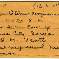 William F. Coultas, egg card # 018