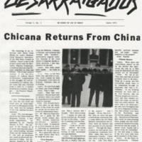 "Los Desarriagados Article: """"Chicana Returns From China"""" Page 1"