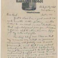1919-09-06 Bob Browning to Karl Hoffman Page 1