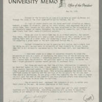 "1970-05-10 """"University Memo, Office of the President"""" Page 1"