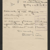 1918-07-24 Ruth S. Carr to Council of National Defense