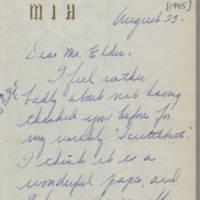 1945-08-23 Margaret J. Hanson to Mr. Dave Elder Page 1