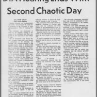 """1971-02-06 Daily Iowan Article: """"""""DIA Hearing Ends With Second Chaotic Day"""""""" Page 1"""