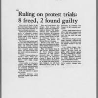 """1972-05-19 Daily Iowan Article: """"""""Ruling on protest trials: 8 freed, 2 found guilty"""""""""""