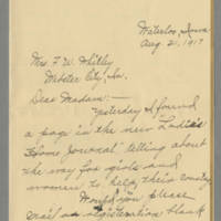 1917-08-21 Miss Bertha V. Plowman to Mrs. F.N. Whitley Page 1