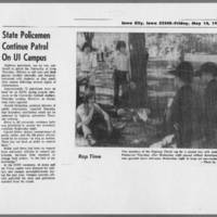 """1972-05-14 Daily Iowan Article: """"""""State Policemen Continue Patrol On UI Campus"""""""""""