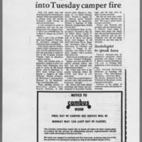 """1972-05-11 Daily Iowan Article: """"""""Investigation continues into Tuesday camper fire"""""""""""