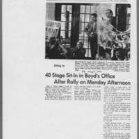 "1971-05-11 Daily Iowan Article: """"40 Stage Sit-In in Boyd's Office After Rally on Monday Afternoon"""""