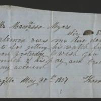 1857-05-30 Harrison Billmire to Mr. Mannassa Meyers
