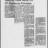 "1971-05-18 Iowa City Press-Citizen Article: """"Reporter Found Guilty Of Disobeying Policeman"""""