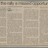 """1982-10-29 Liz Bird Editorial: """"Was the rally a missed opportunity?"""""""