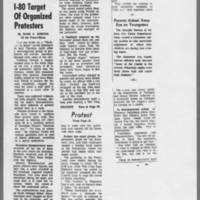 """1972-05-12 Iowa City Press-Citizen Article: """"""""I-80 Target of Organized Protesters"""""""" Page 1"""